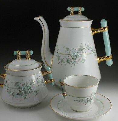 1880 Konigszelt Porcelain Coffee Chocolate Pot Cup Sugar 18 pc 19th Century Set