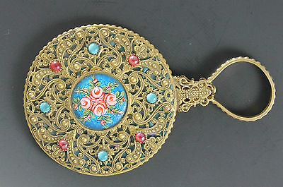 French Gold Dore Filigree & Guilloche Rose Enameled Jeweled Chatelaine Mirror