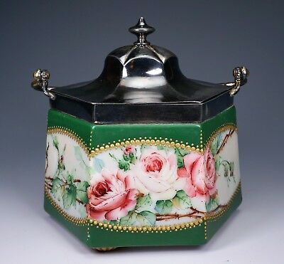 Gorgeous Hand Painted Roses Hexagonal Base Pairpoint Glass Biscuit Jar