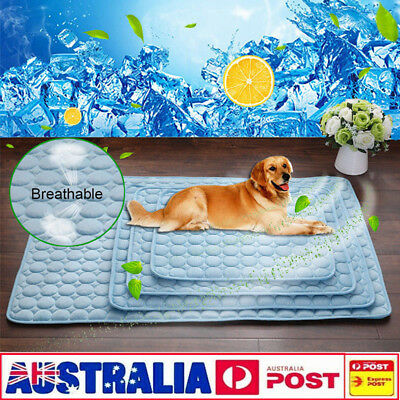 Pet Dog Cat Bed Cooling Ice Pad Viscose Fiber Mat Summer Chilly Non Toxic Mat AU