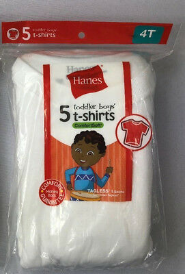 17bae826 Hanes Boys 5 T-Shirts 4T Toddler White ComfortSoft Tagless 33-38lbs Chest 21