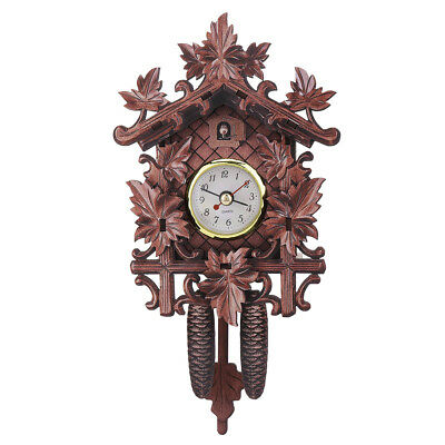 Maple Leaf Black Forest Home Cafe Art Chic Swing Vintage Cuckoo Wall Clock 302