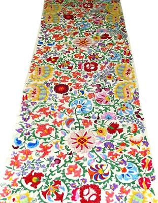 Uzbek Handcrafted Fully Silk Embroidered Cotton Suzani Fabric By Yardage A11163