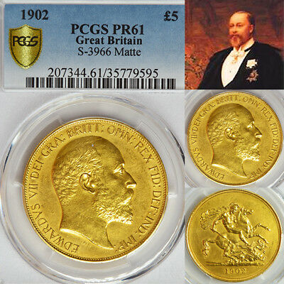 King Edward Vii 1902 £5 Proof Matt Gold Sovereign....