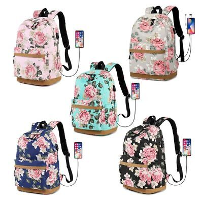 Teen Girls Canvas Flower Backpack Laptop Travel Daykpack School Bag Bookbags
