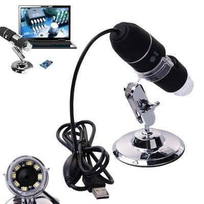 2MP 1000X 8 LED USB Digital Microscope Endoscope Camera Magnifier + Stand