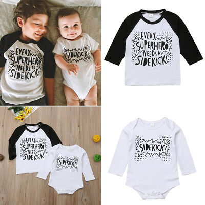 Big/Little Brother Matching Tops Baby Boy Kids Romper T-shirt Clothes Outfits