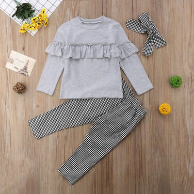 UK Toddler Kids Baby Girl Ruffle Plaid Tops Pants Leggings 3Pcs Outfits Clothes