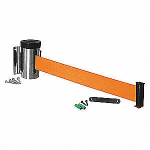 VISIONTRON Retractable Belt Barrier,10 ft., WM700SS-OR-RE, Silver