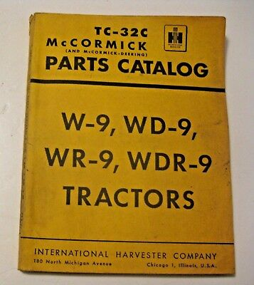 Vintage 1950 International Harvester W-9,wd-9,wr-9,wdr-9 Tractors Parts Catalog
