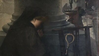 Huge Antique Italian Signed Oil - Young Lady At Her Devotion - Church Interior