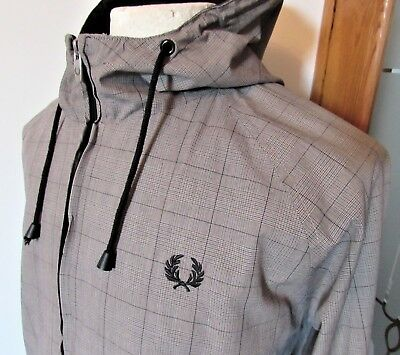Fred Perry Prince Of Wales Check Jacket Scooter Mod Skin Large Xl Harrington