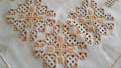 Lovely vintage thick hand Lefkara embroidered tablecloth gold embroidery