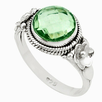 925 Sterling Silver Natural Green Amethyst Ring Jewelry Size 6.5 M42387