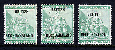 BECHUANALAND PROTECTORATE QV 1897 ALL THREE Overprints on COGH ½d. SG 56-58 MINT