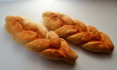 Dolls House Miniature Food * 2 X Large Bread Pleat Loaf * Handmade Combined P+P