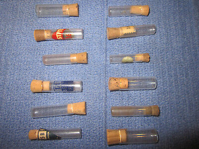 Vintage Antique Lot of 12 Small Glass Watchmakers Bottles Vials w Cork Stoppers