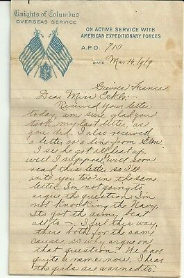 """1919 five-page letter World War I """"American Expeditionary Forces"""" stationery"""