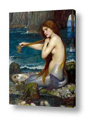 A Mermaid by Waterhouse | Ready to hang canvas | Wall art paint HD giclee