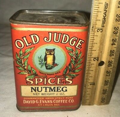 Antique Old Judge Nutmeg Spice Tin Vintage David G Evans St Louis Mo Grocery Can