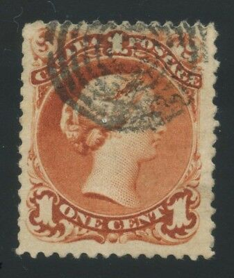 Canada 1867 Large Queen 1c brown red Laid Paper #31 used 7RC