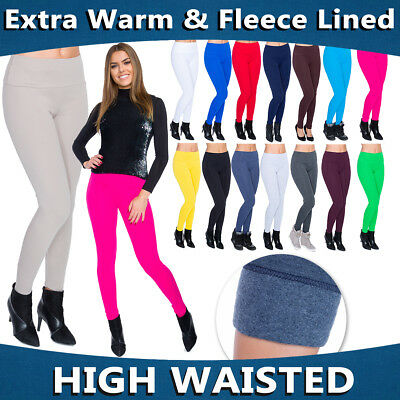 Womens Winter High Waist & Classic Leggings Fleece Lined Plus Sizes 8-30 LWPP28