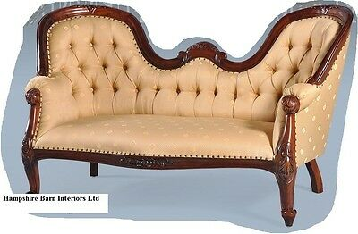 Antique Replica Mahogany Gold Medium Chaise Longue Lounge Sofa  Free Delivery