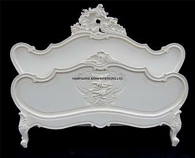 French Ornate Chateau Style Louis Bed Frame SUPER King 6ft  Antique White Carved