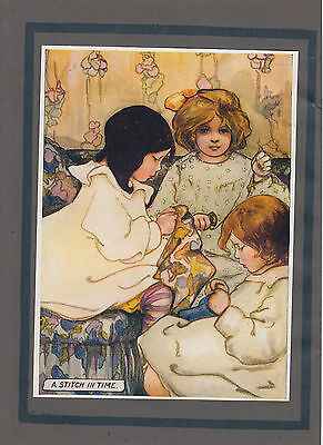 Early Little Girls Sewing Crafts Antique Sewing Color Print 1905