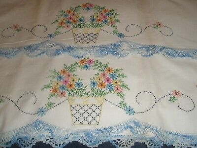 Pair Vintage Blue baskets floral Embroidered crocheted  Pillowcases