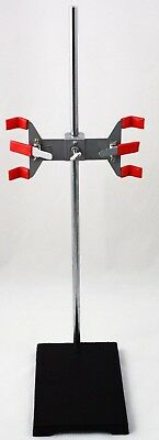 """6x9"""" Cast Iron Support Stand w/24 Inch Chrome Plated Rod & Double Burette Clamp"""