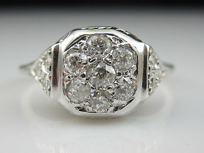 Vintage Art Deco Old European Cut Diamond Ring 14K White Retro Estate Antique