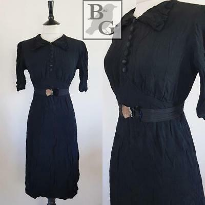 Original Antique 1930S Vintage Black Art Deco Dagger Collar Day Dress 10 S