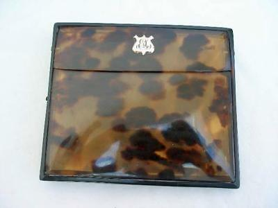 Unusual Antique Faux Tortoishell & Yellow Metal Mounted Cigarette Case.
