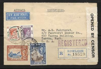 Hong Kong, 1941 Censored Cover To Usa, $3.50 Tamps Used, Very Scarce
