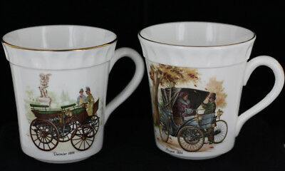 Vintage set of 2 Crown Staffordshire England Bone China Cups Peugeot Daimler