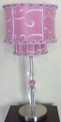 Table Nightstand Lamp Light Lucite Pink Shade Fancy w Crystal Beads 22x10
