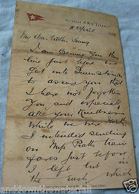 White Star Line TITANIC Vintage Letter Wrote on  board the Ship before Disaster