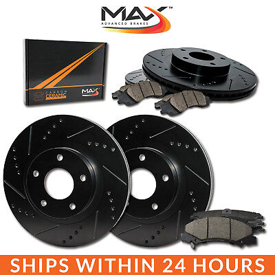 2013 2014 2015 2016 2017 Ram 1500 Black Slot Drill Rotor w/Ceramic Pads F+R