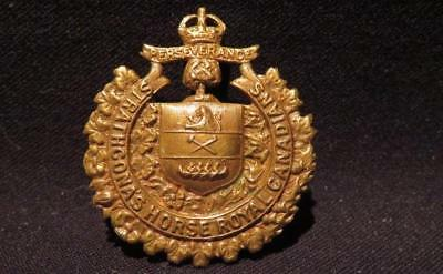 Strathcona's Horse (Royal Canadians) WWI/Pre-WWI Brass Cap Badge
