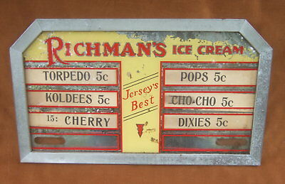 Vintage Richman's Ice Cream Reverse Ptd. Price Sign Indoor