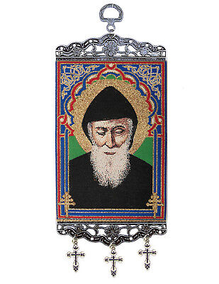 """Saint St Charbel Sharbel Icon Sacred Image Tapestry Banner With Crosses 9 3/4"""""""