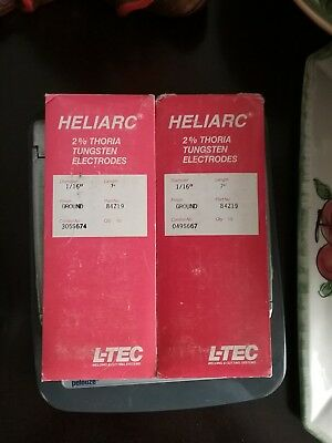 "2 packs L-TEC Heliarc 2% ThoriatTungsten Electrodes 1/16""X7 Qty 20 Ground Finish"