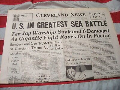 Cleveland WW2 Newspaper U.S. in Greatest Sea Battle May 8, 1942 Complete Paper