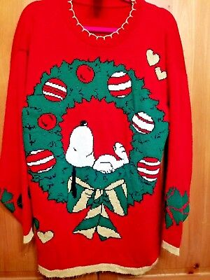vintage peanuts snoopy red christmas sweater size large