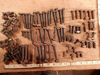 antique vintage bolts nuts lot square head fastener hardware 5/16 in. QTY 99