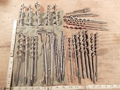 antique auger drill bits lot vintage drilling wood cutting woodworking tool
