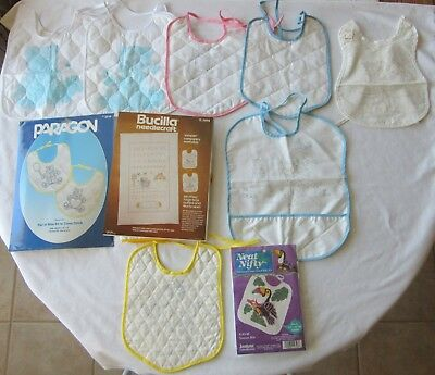 Estate Lot Of 3 Baby Bib Embroidery Kits 7 Stamped Bibs Some