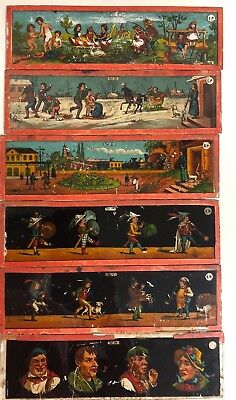 6 Antique German MAGIC LANTERN slides  ERNST PLANK
