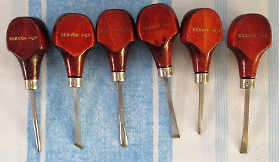 Group Of 6 Beaver Hut Leather? Or Wood Working? Craft Tools